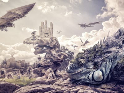 Dragonland compositing post-production illustration photomanipulation digital art