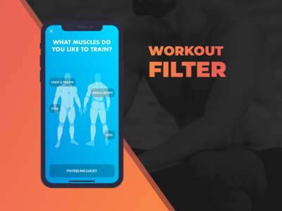 Workout app muscles filter UI mobile ui fitness app fit ios app