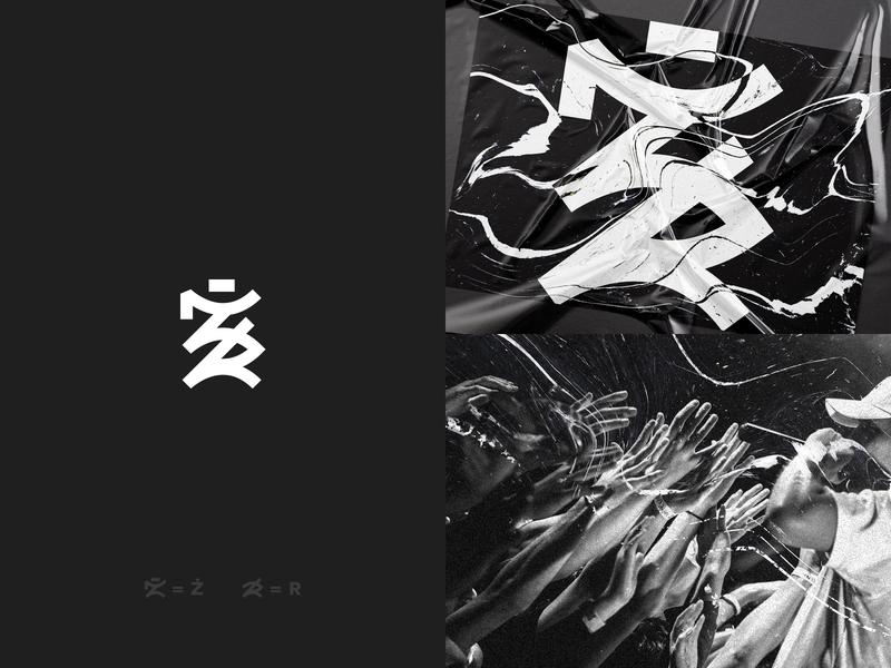 ŻR Logotype concert blackwhite microphone hiphop rap design logodesign dark concept logo żr