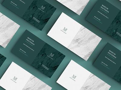 MJ Developer / Branding business green elegant marble card building branding developer mj