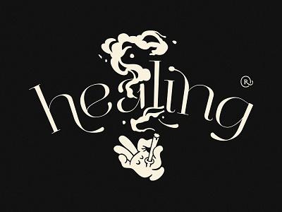 Healing Time illustration vintage typo smoke remedy weed hemp healing