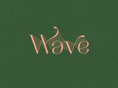 Wave print green letters wave wavy class elegant vintage retro typography typo
