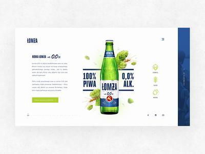 Łomża / 0,0% shot 1 key visual kv webdesign design product launch beer 0 łomża