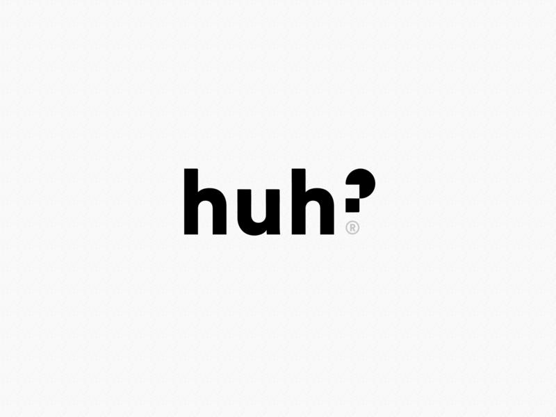 Huh? Logo concept branding brand logotype design explainer discussion forum question huh logo