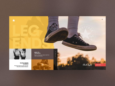 Converse Chuck Taylor / We are Legends animation adobe xd ui concept campaing vintage classic legend lifestyle streetwaer street sneakers chucks chuck taylor chuck webdesign converse