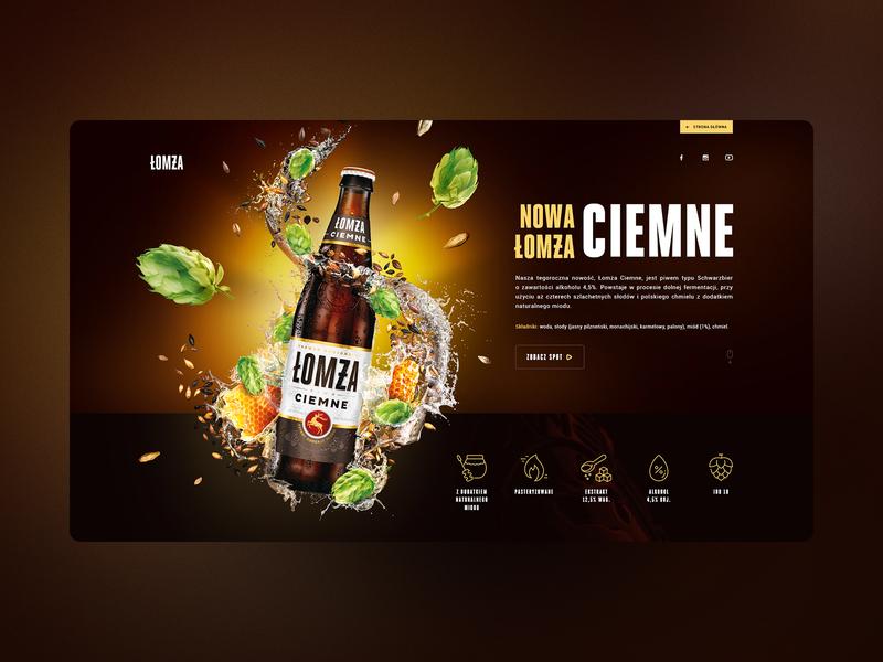 Łomża / Ciemne LP brand hop ciemne beer lomza campaign launch typography montage webdesign web landing page lp ui kv