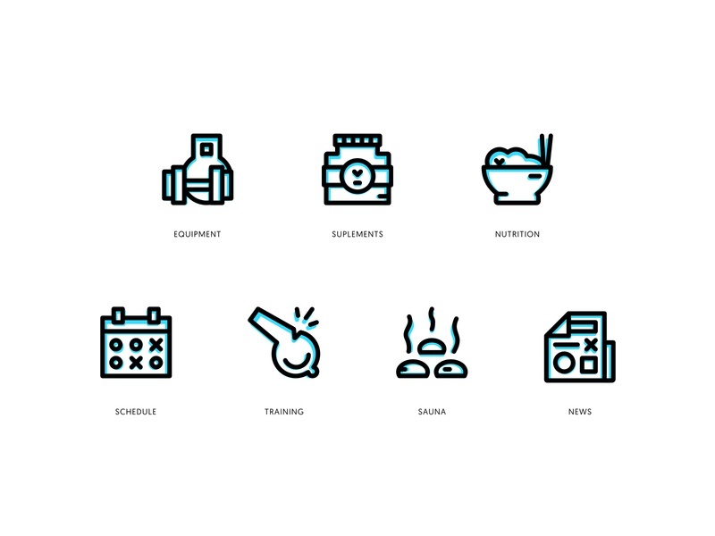 Gym Icon Set website web vector ux ui stroke outline logo illustration icons icon gym branding app