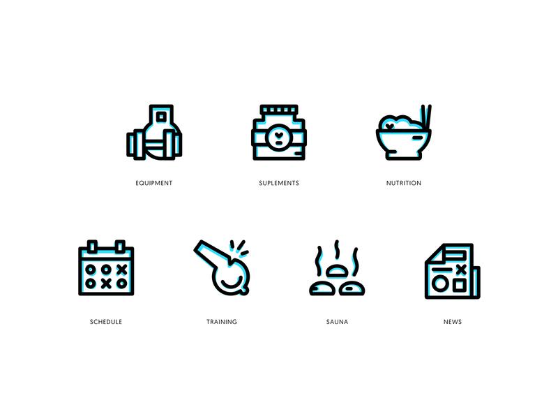 Gym Icon Set website web vector ux ui stroke outline logo illustration icons icon gym branding app