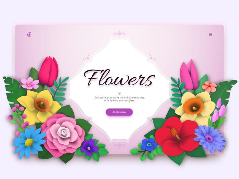 Flower Shop Web Concept plant elegant fancy premium shop flowers app typography design vector logo flower brush illustration branding webdesign ux ui