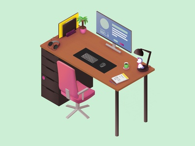 My Spiffy Desk illustration isometric office desk chair drawing art affinity cute table unicorn setup workplace brush vector
