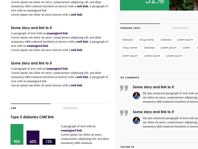user interface - desktop  tabs tags ui userinterface responsive column infographics quote typography green heavy text