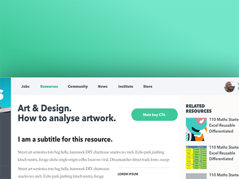Resources page desktop cards content related text menu rounded bold interface green download resource page