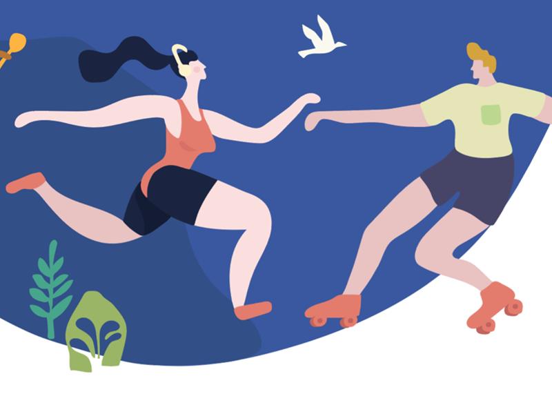 illustration couple running roller movement illustration flat