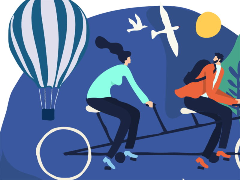 illustration air baloon blue outdoor couple cycle movement flat illustration cycling