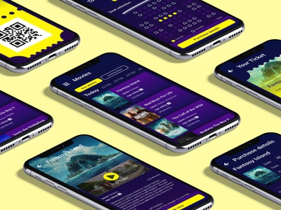 Cinema booking application app design app contrasting colors mockup visual design ui design adobe xd booking app movie cinema