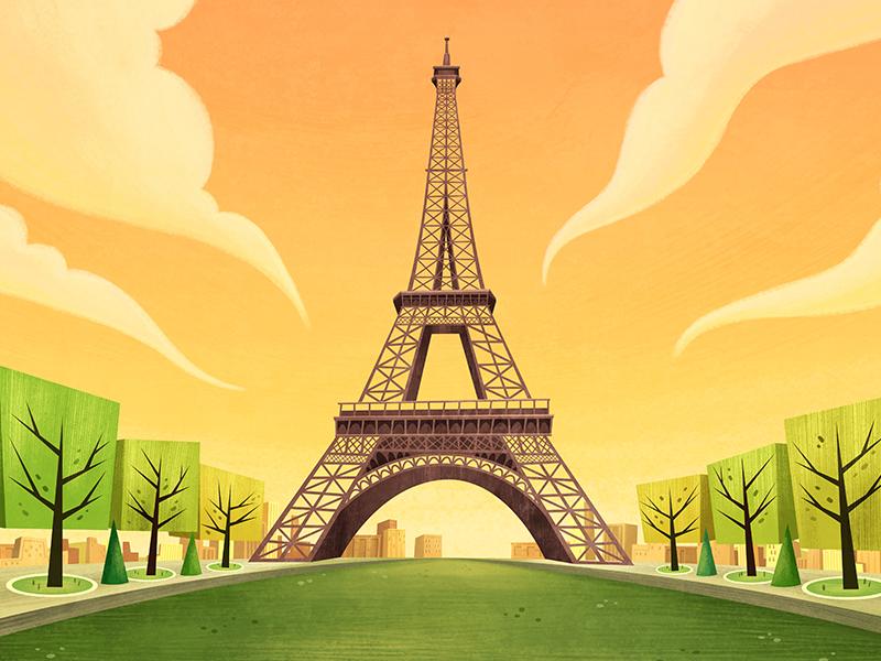 Paris paris countries concept cartoon serie animation background