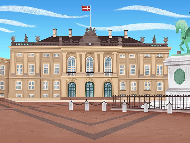 Denmark, Amalienborg palace. photoshop illustrator denmark dinamarca countries concept cartoon serie animation background