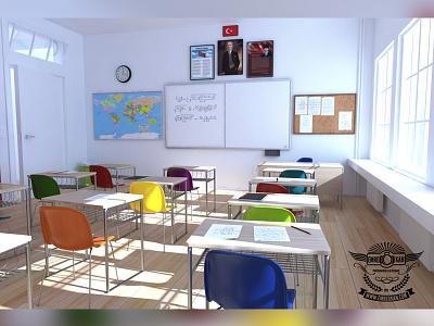 Classroom cg render draw lesson classroom 3d