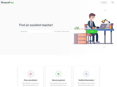 One Prof teacher landing page ui  ux design ui-ux oneprof