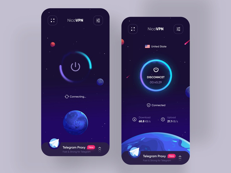NicoVPN App Ui Design android ios app trend photoshop uidesign userinterface connect vpn app appdesign uxui illustration design uiux ui