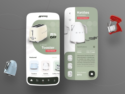 Smeg Appliances Home Ui Design toaster kettle app design ecommerce shop kitchen home appliances app dribbble trend userinterface uiux ui uidesign design