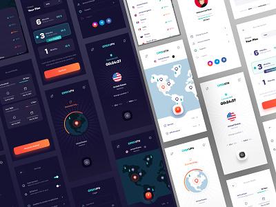 OPENVPN App Ui Design service modern mobile light ui dark ui vpn app vpn userinterface trend app uiux uidesign design ui