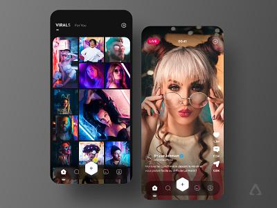 🎥 Social Video App - Dark Version logo branding illustration userinterface uidesign virals trend design dark app ux uiux video live media social network social video app ui