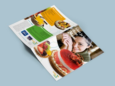 Product folder with cake recipes product promotion graphic design publicity marketing