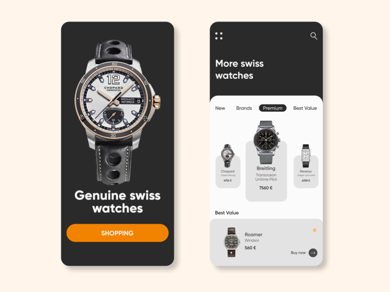 Swiss watches mobile app iphone x mobile design mobile store shopping app watch minimal web shop ux ui design