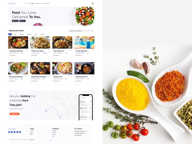 Avocada - Food Delivery Restaurant food lettering vector design web logo illustration branding website typography