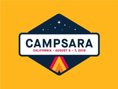 Campsara clean color logo design creative camp branding illustration badge