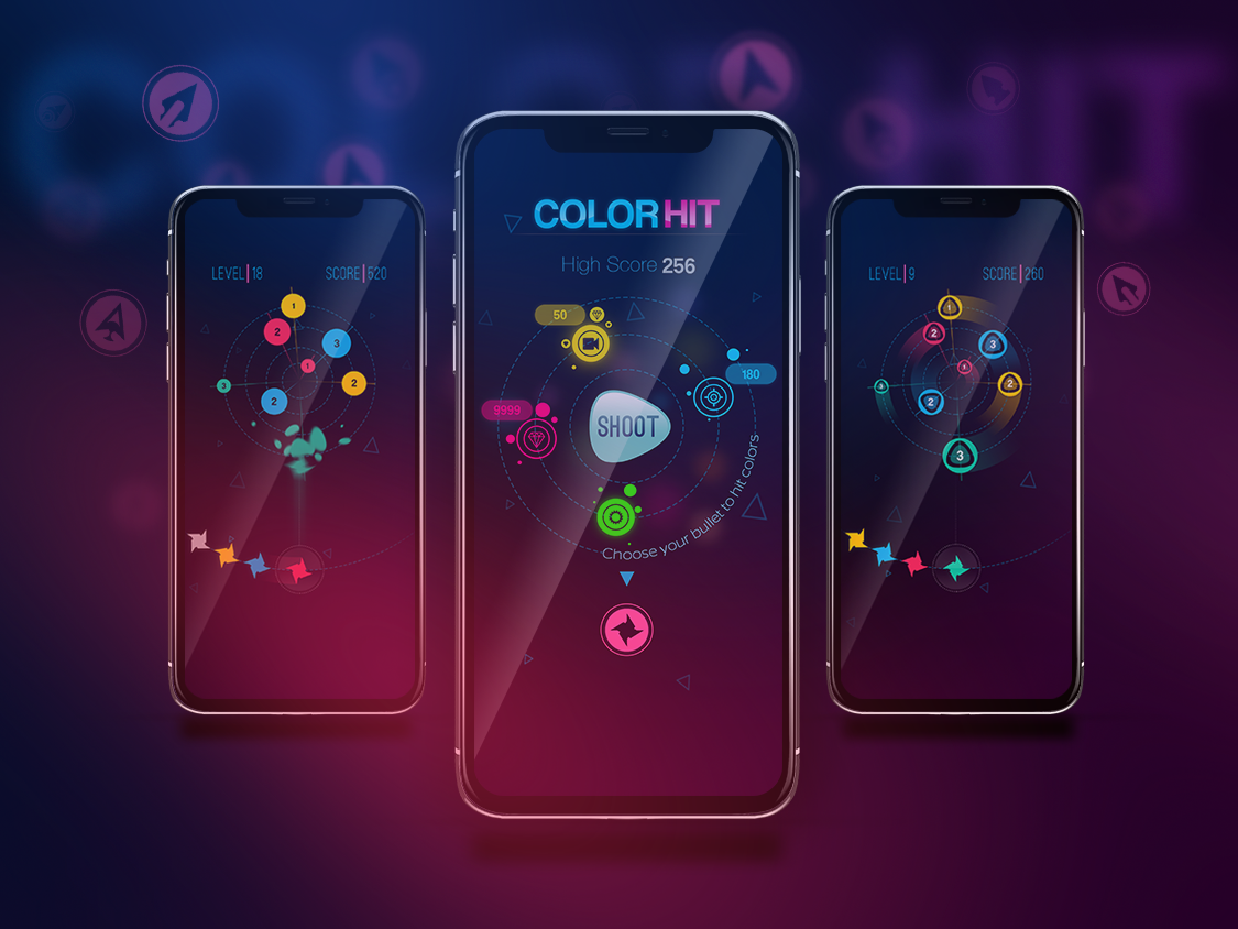 Color Hit - IPhoneX Mock-up hit game app ux color hit mobile game design hyper casual game illustration hyper casual ui game play game design 2d game 2d art