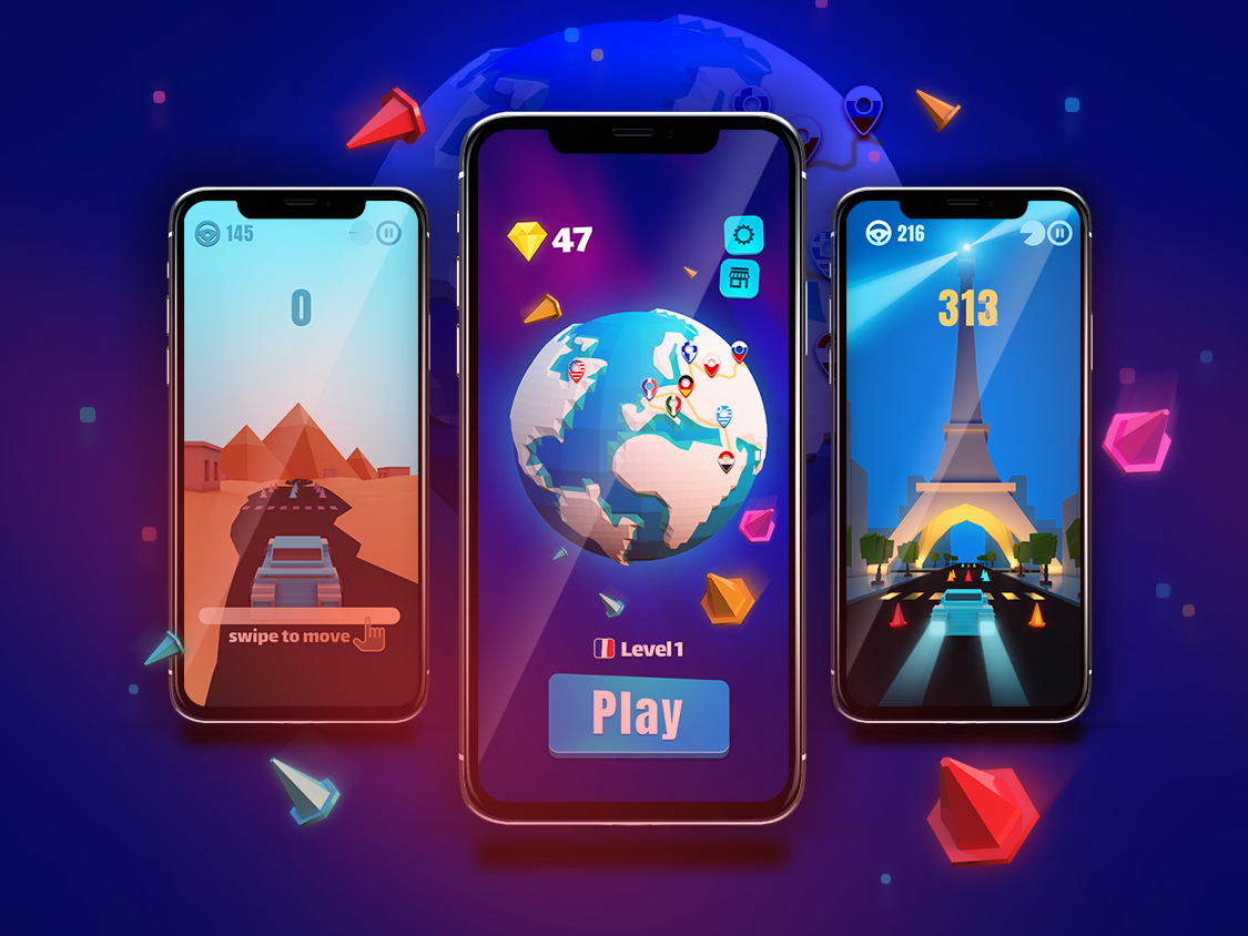 Color Road - iPhone X iphone x mockup iphonex iphone game level car game egypt eiffeltower eiffel paris low poly art low poly game art games mobile game design game play ui game design 3d art