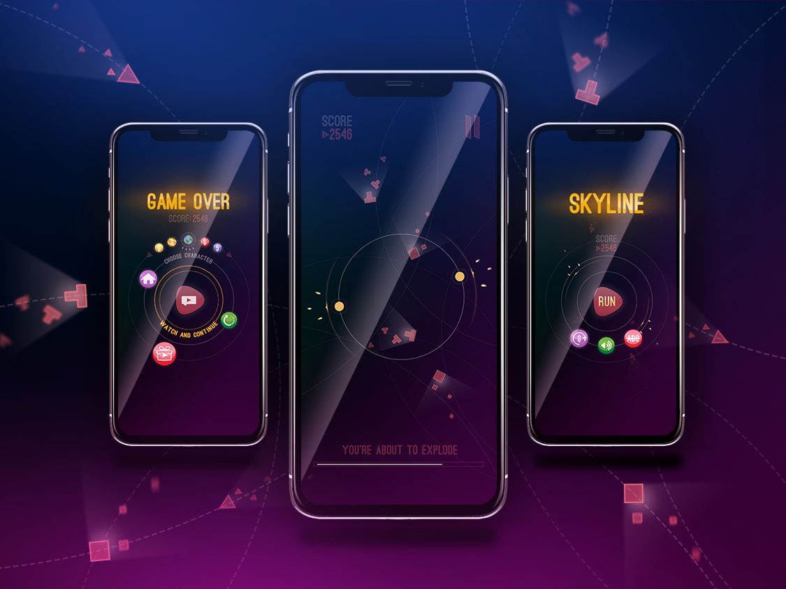Skyline - iPhone X Mock-up iphone mockup iphonex hit game design game art hyper casual game ui game play mobile game game design 2d game 2d art