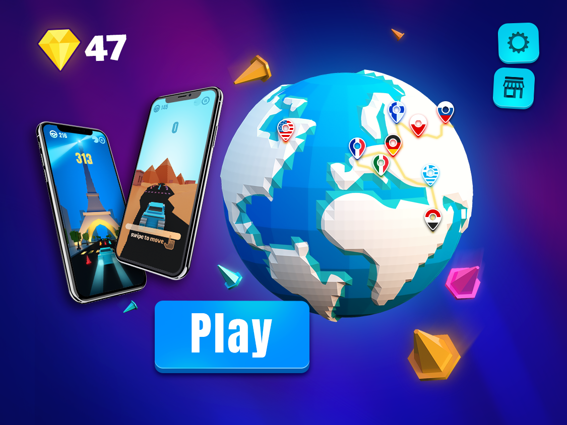 Color Road - UI & Gameplay on iPhone X iphone x mockup iphonex mockup mobile games 3d modeling 3dsmax 3d art game art game design mobile game ui game play