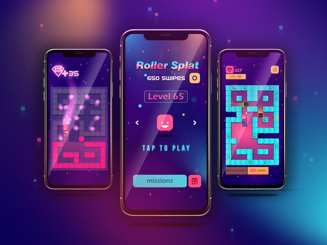 Roller Splat - IPhoneX Mock-up iphone iphone x mockup design iphonex game art ui game play 2d game game design 2d art mobile game