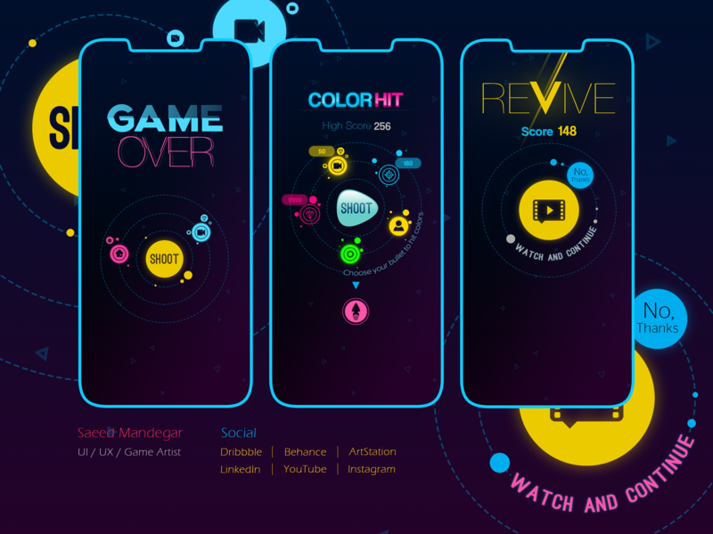 Game UI - iPhone X uiux hit game hyper casual game color hit iphone x mockup 2d art 2d game design game art mobile game game design ui