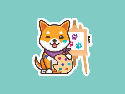 Kami Art shibainu kami dog stickermule sticker