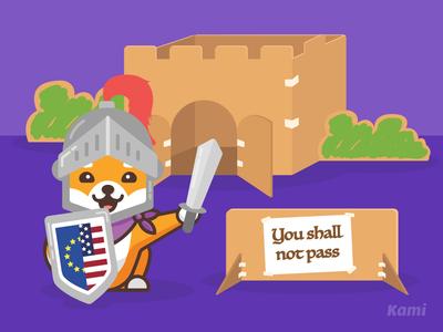 Privacy Shield privacy shield guard privacy policy sword armour privacy cardboard castle cardboard vector design illustration shibainu kami dog