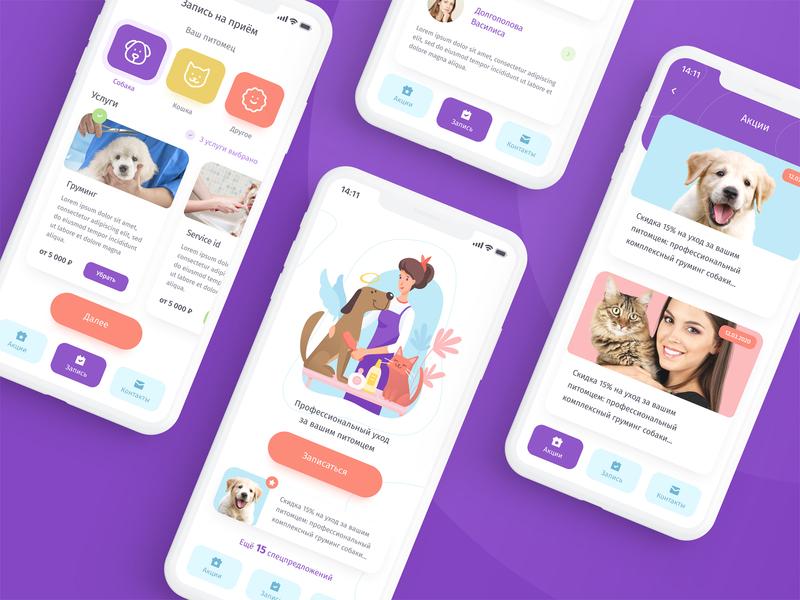 Pet grooming app mobile ux vector application ui mobile app illustration app design app