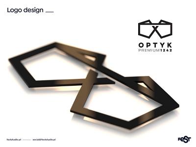 OPTYK PREMIUM 1242 – logo design glasses optician branding blender3d blender design logo
