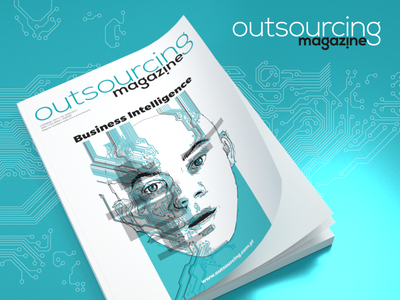 Outsourcing Magazine cover and logo design layout outsourcing magazine design logo cover