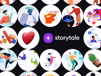 Introducing Storytale flying cinema4d png startup project elements ui design landing application presentation website web app scene colorful bright illustrations 3d