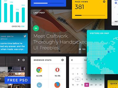 Free Dashboard UI Elements PSD blocks flat widgets free psd freebies freebie dashboard kit ui