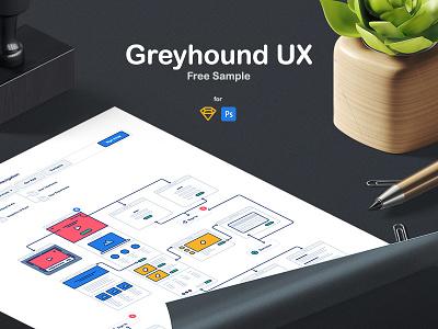 Greyhound UX Flowchart Free Sample freebies sample freebie free wireframes flowcharts flowchart wireframe ux