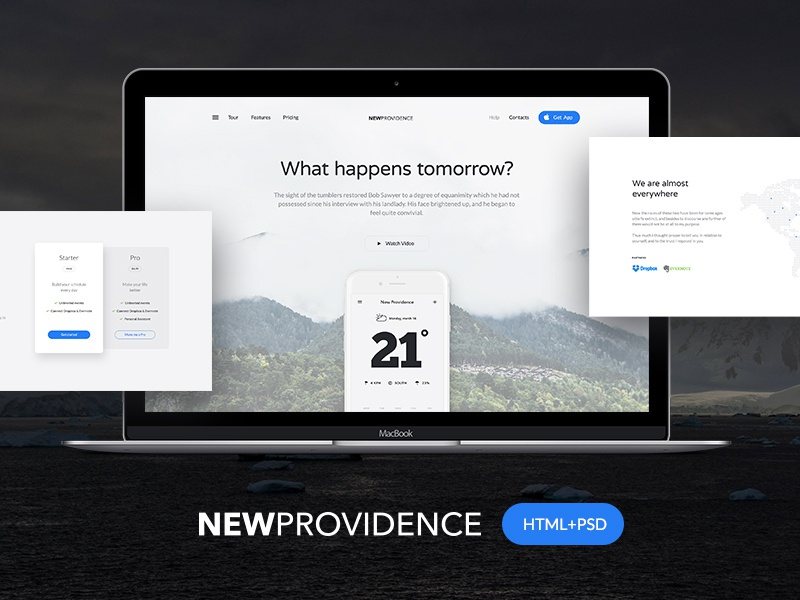 New Providence HTML+PSD Freebie template html css free freebie freebies ui landing light website psd photoshop