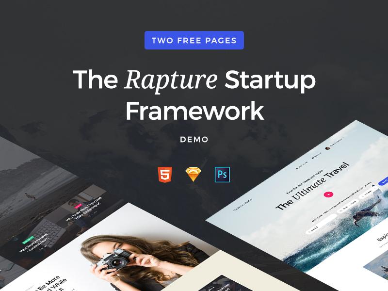 The Rapture Startup Demo landing page landing ui ui kit card web ux freebie free interface ui pack framework