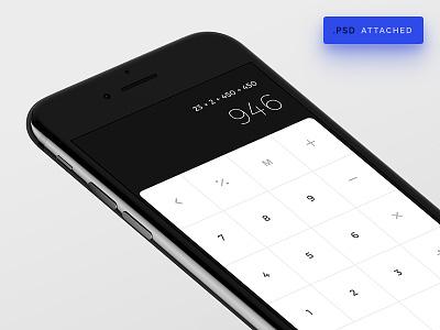 iOs Calculator freebie free 004 dailyui black jet app calculator calc mockup ios iphone 7 phone