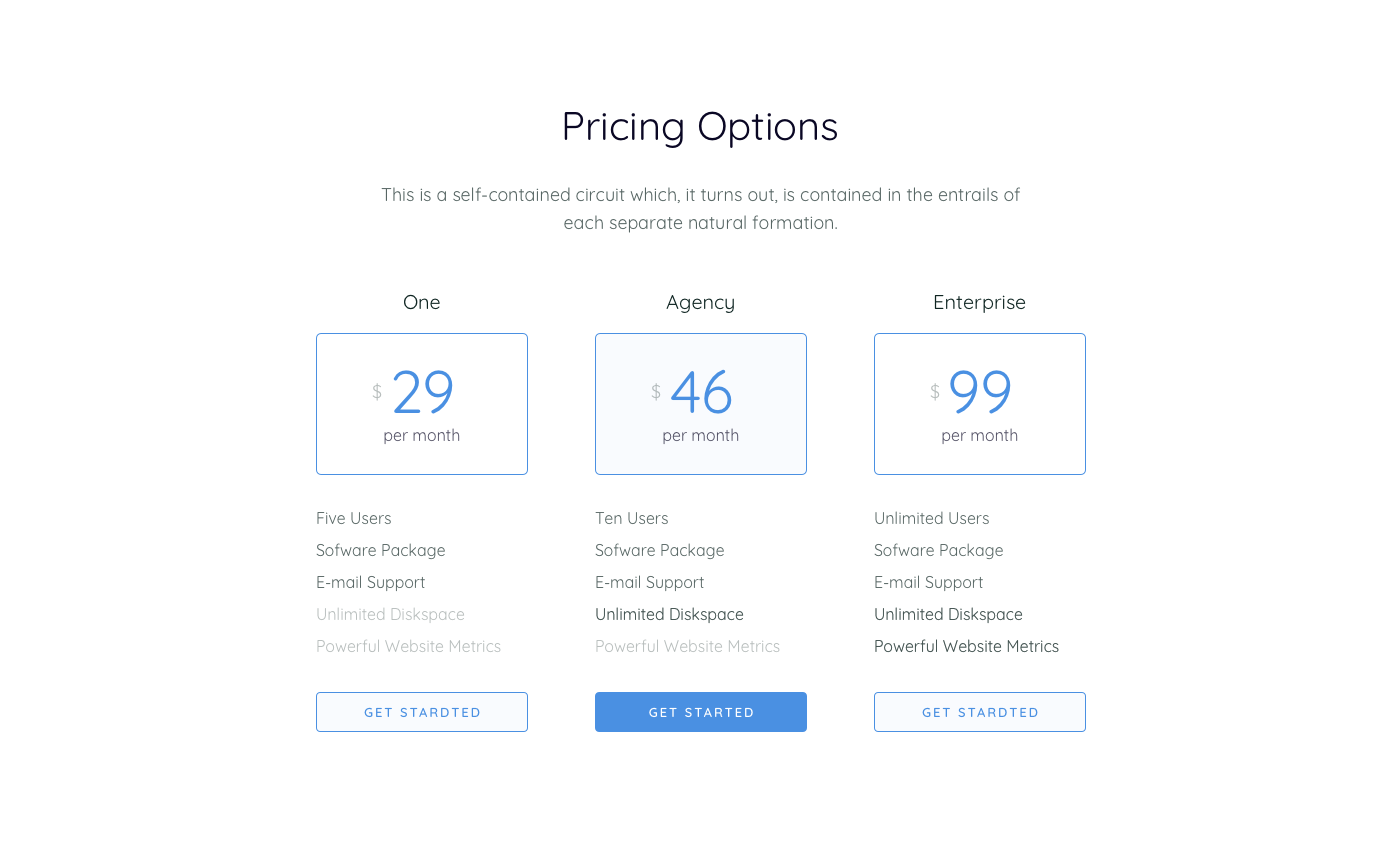 Pricing table  1