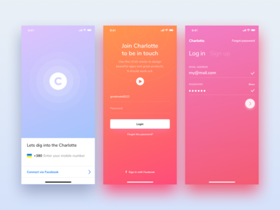 Charlotte iOS UI Kit for Sketch & PS ios 11 ui ui kit iphone x iphone 10 mobile colourful design app sketch photoshop